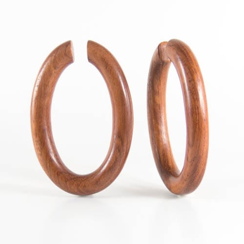 Red Wood Oval Hoops Earring