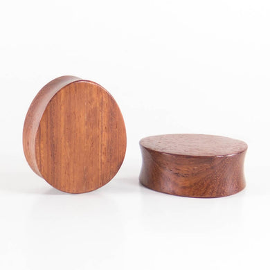 Red Wood Double Flared Oval Teardrop Plugs