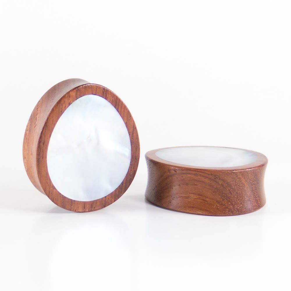 Red Wood Double Flared Oval Plugs with Mother of Pearl Shell Inlay