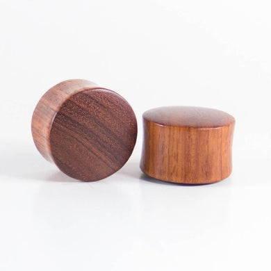 Red Wood Double Flared Ear Plugs