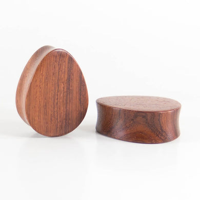Red Wood Double Flared Teardrop Plugs