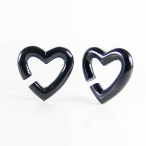 Buffalo Horn Heart-Shaped, Hoop Earrings