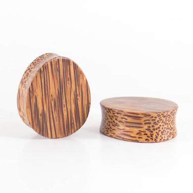 Coconut Palm Double Flared Oval Teardrop Plugs