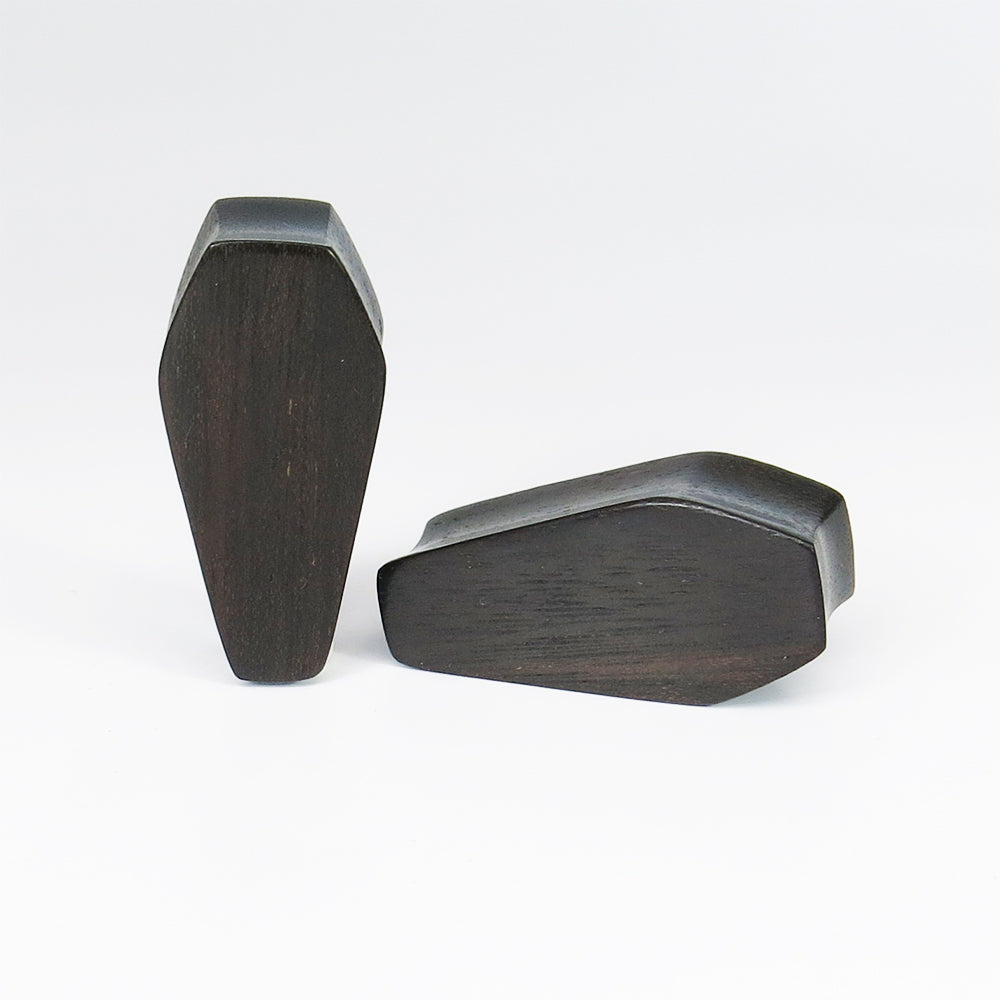 Black Wood Double Flared Coffin Plugs