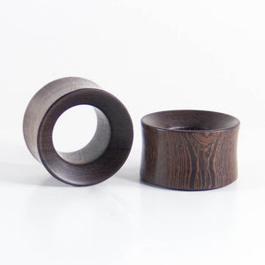 Black Wood Double Flared Concave Tunnels