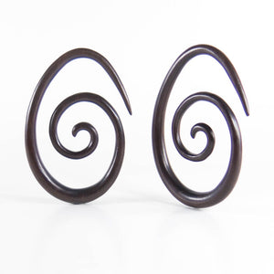 Black Wood, Oval Spiral Earrings
