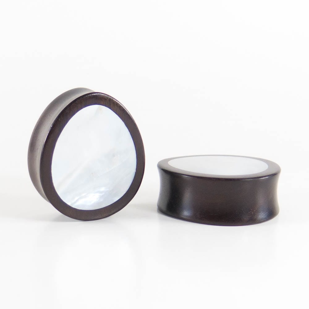 Black Wood Double Flared Oval Plugs with Mother of Pearl Shell Inlay