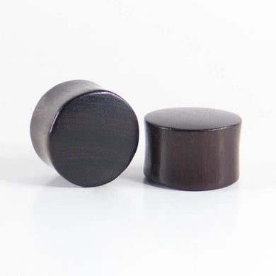 Black Wood Double Flared Ear Plugs