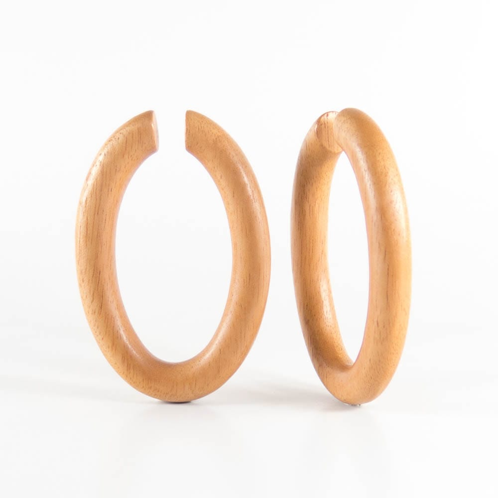 Bronze Wood Oval Hoops Earring