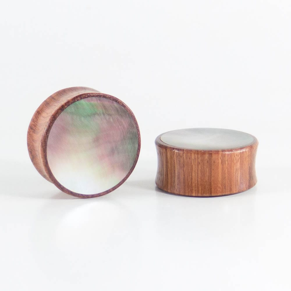 Bronze Wood Double Flared Plugs with Black Pearl Shell Inlay