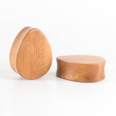 Fijian Mahogany Double Flared Teardrop Plugs