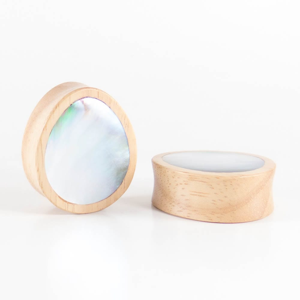 White Wood Double Flared Oval Plugs with Mother of Pearl Shell Inlay
