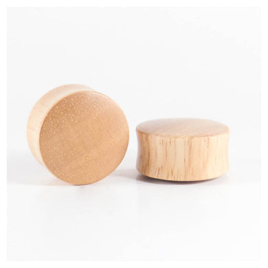 White Wood Double Flared Ear Plugs