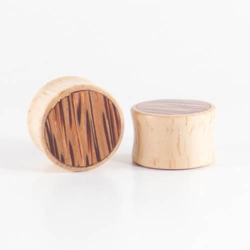 White Wood Double Flared Plugs with Coconut Palm Inlay
