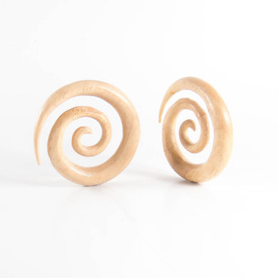 White Wood Large Ear Spirals