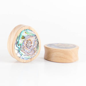 White Wood Double Flared Oval Plugs with Abalone Shell Inlay