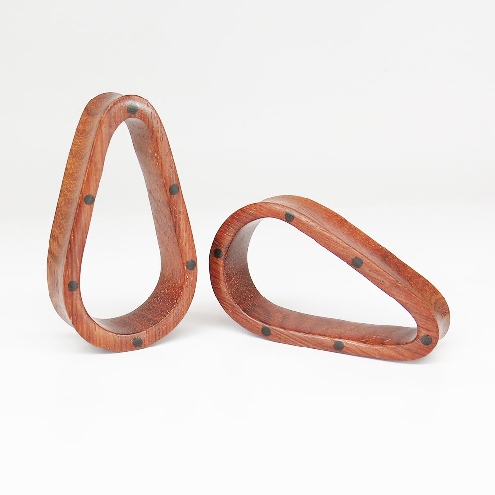 Blood Wood Tall Teardrop Tunnels Inlaid with Ebony