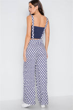 Load image into Gallery viewer, Navy White Polka Dot Wide Leg Suspender Pants