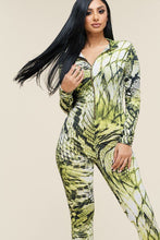 Load image into Gallery viewer, Multi Color Print Long Sleeve Zipper Front Jumpsuit