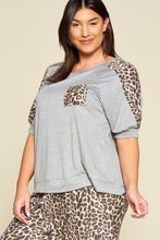 Load image into Gallery viewer, Plus Size Cute Animal Print Pocket French Terry Casual Top
