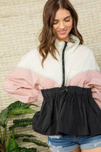 Load image into Gallery viewer, High Neck Zipper Waist Elastic Long Sleeve Bottom Ruffle Color Block Windbreaker