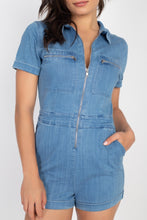 Load image into Gallery viewer, Zip Front Denim Collared Romper