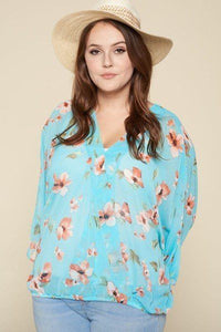 Plus Size Floral Chiffon Sheer Surplice Top