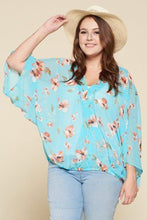 Load image into Gallery viewer, Plus Size Floral Chiffon Sheer Surplice Top