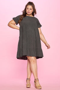 Solid Washed Woven Babydoll Dress