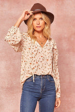 Load image into Gallery viewer, Woven Floral-Print Peasant Top