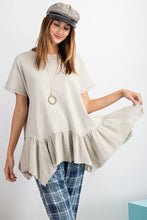 Load image into Gallery viewer, Short Sleeve Terry Mix Gauze Ruffled Bottom Tunic