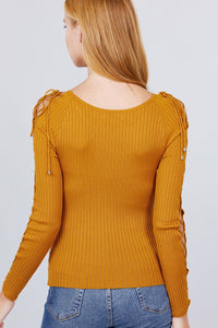Long Sleeve W/strappy Detail Round Neck Rib Sweater Top