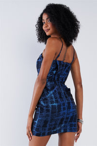 Cobalt Blue Black Pattern Printed Disco Mini Dress