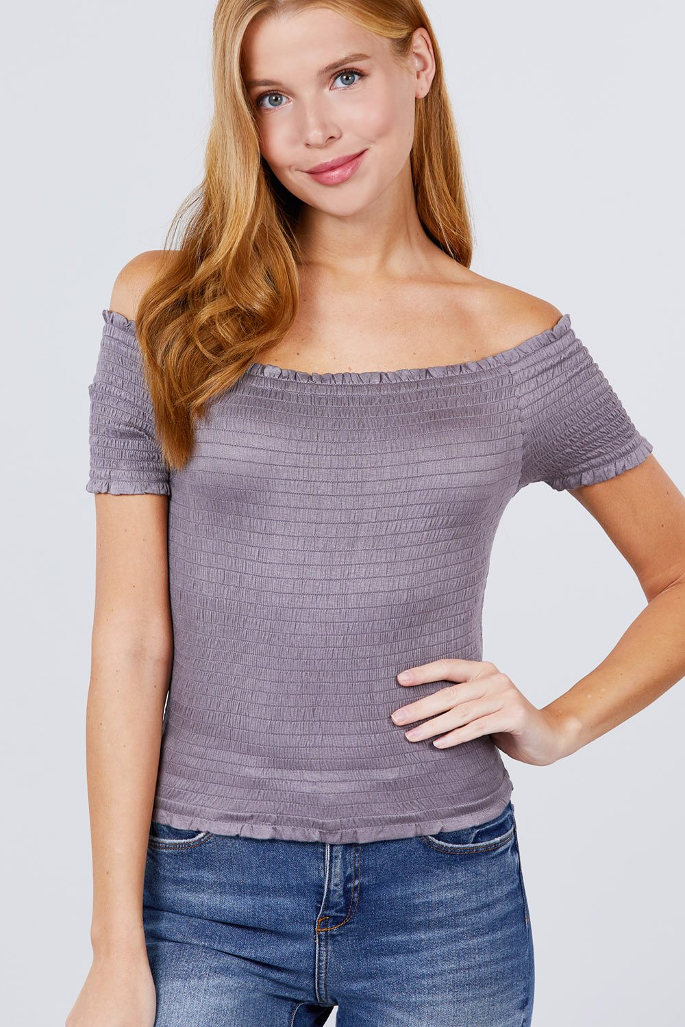 Short Sleeve Off The Shoulder Smocked Rayon Spandex Top