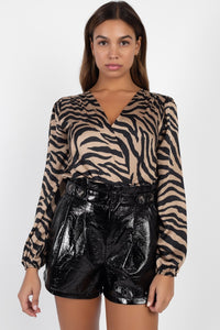 Animal Print Wrap Bodysuit