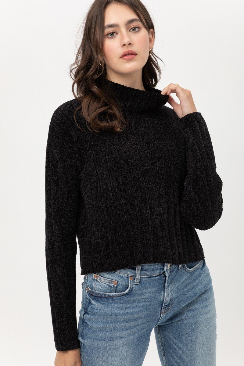 Mini Velvet Chenille Crop Sweater