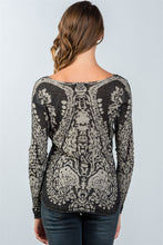 Load image into Gallery viewer, Grey Textured Print Dropped Shoulder Boho Sweatshirt