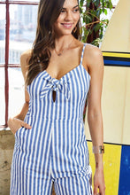 Load image into Gallery viewer, Adjustable Shoulder Strap Side Pocket Back Zipper Front Tie Stripe Print Jumpsuit