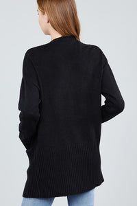 Long Sleeve Open Front W/pocket Sweater Cardigan