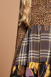Cheetah Print Button-down Collard Shirt Dress