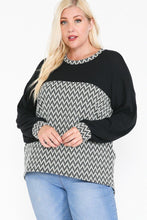 Load image into Gallery viewer, Jacquard Contrast With Drop Shoulder Long Sleeve Round Hem Top