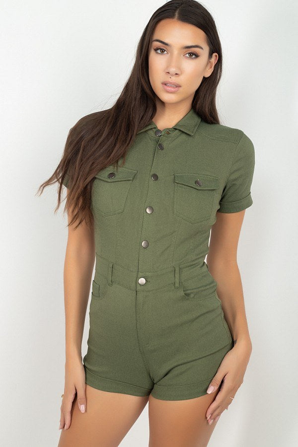 Short Sleeve Button Front Romper
