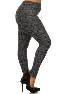 Knit, Pattern Print, Full Length Leggings With Elastic Waist