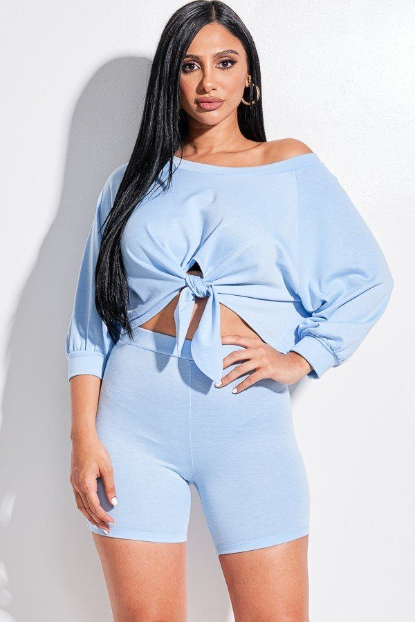 Solid French Terry Tie Front Off The Shoulder Slouchy Top And Shorts Two Piece Set