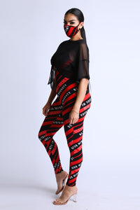 Diagonal Striped Jumpsuit With Mesh Set