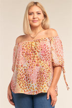 Load image into Gallery viewer, Plus Size  Leopard Print Relaxed Fit Off-the-shoulder Draw String Self Tie Puff Sleeve Top