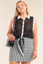 Load image into Gallery viewer, Black & White Sheer Buttoned Down Sleeveless Front Knot Top