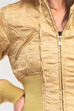 Load image into Gallery viewer, Letter Printed Zip-up Faux Fur Hood Detail Cropped Winter Bomber Jacket