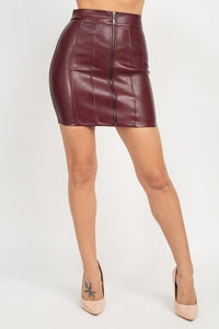 Front Zip Tulip Mini Skirt