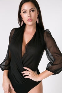 Puff Sleeve Sheer Surplice Bodysuit